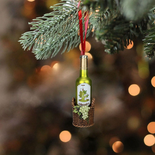 "6.25"" Green Wine Bottle In Basket With Grapes Glass Christmas Ornament"