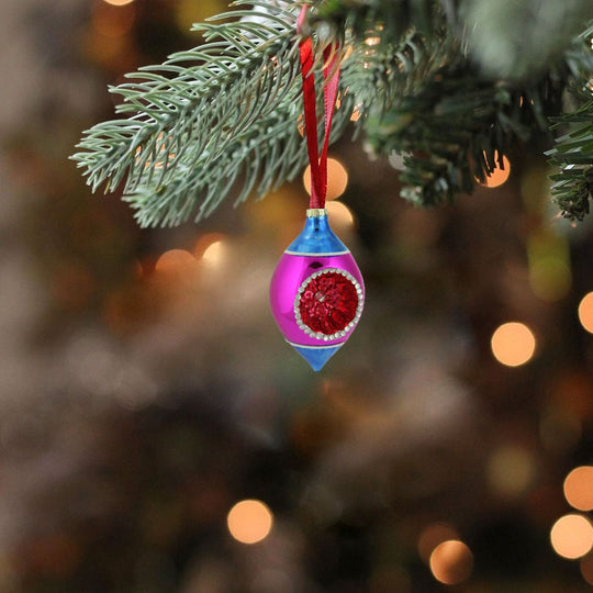 "4.5"" Blue Pink And Red Retro Reflector Glass Teardrop Christmas Ornament"