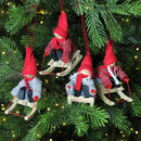 Load image into Gallery viewer, Set Of 4 Colorful Holiday Kids On Sleds Christmas Ornament Decorations 4""