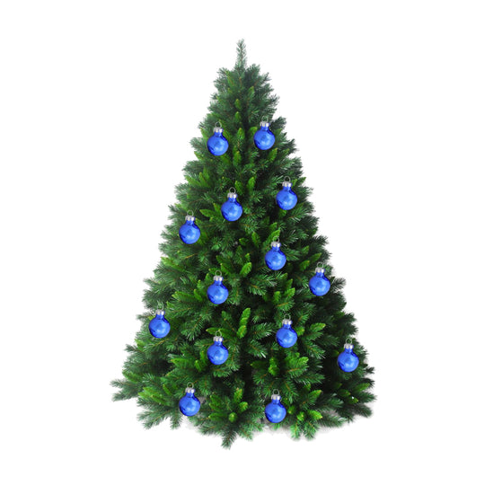 "24-Piece Shiny and Matte Royal Blue Glass Ball Christmas Ornament Set 1"" (25mm)"