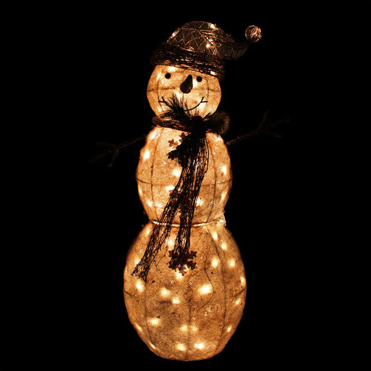 "43"" Lighted Tinsel and Sisal Snowman Christmas Outdoor Decoration"