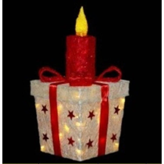"20"" Lighted White and Red Sisal Gift Box with Candle Christmas Outdoor Decoration"