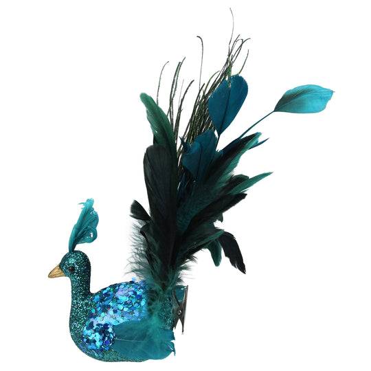 "10"" Turquoise Blue and Green Peacock Clip-On Christmas Ornament"