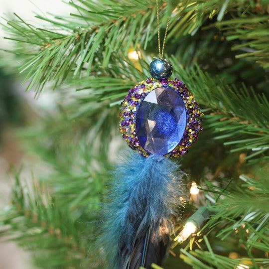 "Northlight Gb146701693001-10"" Regal Peackock Purple & Gold With Blue Jewel Hanging Tassel Christmas Ornament"