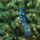 "Load image into Gallery viewer, 14"" Teal and Turquoise Blue Peacock with Feather Tail Clip-On Christmas Ornament"