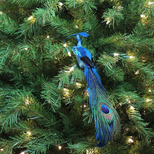 "14"" Teal and Turquoise Blue Peacock with Feather Tail Clip-On Christmas Ornament"