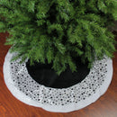 "Load image into Gallery viewer, 48"" Black and White Glittered Polka Dot Christmas Tree Skirt with Faux Fur Trim"