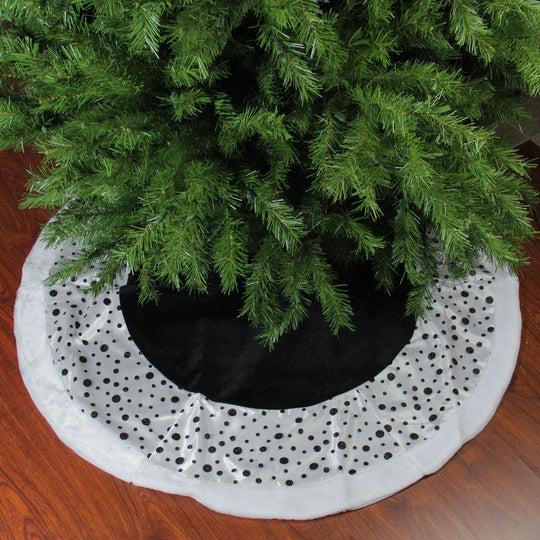 "48"" Black and White Glittered Polka Dot Christmas Tree Skirt with Faux Fur Trim"