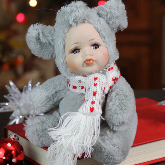 "6.75"" Porcelain Pucker Up Baby in Mouse Costume Collectible Christmas Doll"