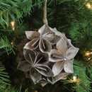 "Load image into Gallery viewer, 4.5"" Glittered Wood Grain Flower Ball Christmas Ornament"