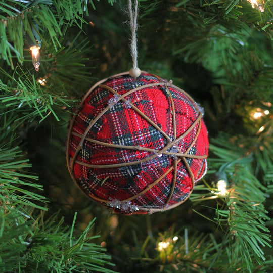 "4"" Plaid Red and Green Twine Ball Christmas Ornament"