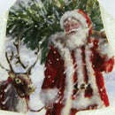 "Load image into Gallery viewer, 4.75"" Led Lighted Santa Claus And Reindeer Bell Shaped Christmas Ornament"