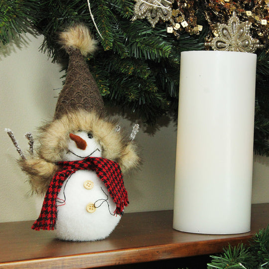 "9"" Decorative Portly Snowman in Brown Faux Fur Trimmed Hat Christmas Tabletop Decoration"