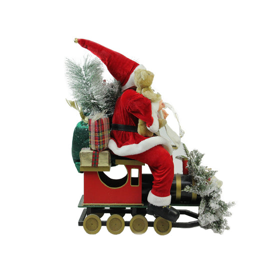 "26"" Traditional Santa Claus Christmas Figure Sitting on Decorative Locomotive Train Car"