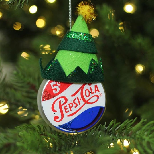 "4.75"" Green Jester Hat on Pepsi Logo Puck Shaped Decorative Glass Christmas Ornament"