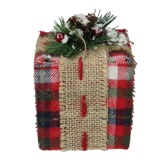 "4.75"" Red Plaid Square Gift Box with Pine Burlap Bow Table Top Christmas Accent"