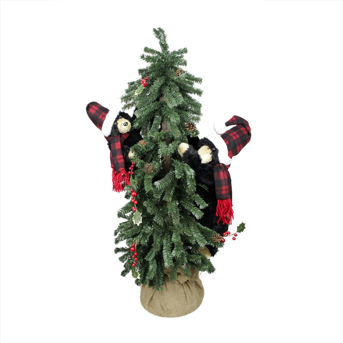 4' Country Rustic Artificial Alpine Christmas Tree in Burlap Sack with Black Bears - Unlit