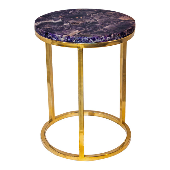 "Amethyst Top  & Metal Round Side Table - 21"" H - Tall End Table W/ Gold Legs - Purple Top"
