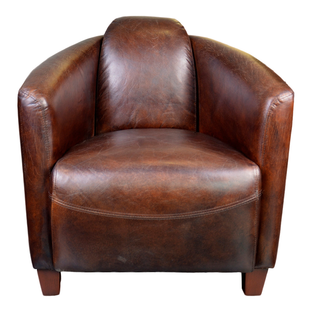 Transitional Grain leather Salzburg Club Chair - Armrest And Accent Chair
