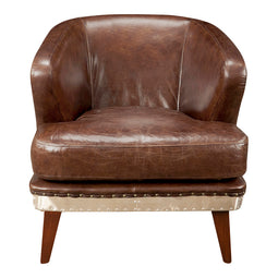 Transitional Preston Leather Lounge Club Chair - Modern Slipper Armchair