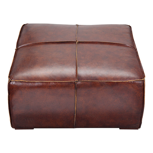 Stamford Coffee Table Dark Brown Distressed Leather | Moe's Furniture