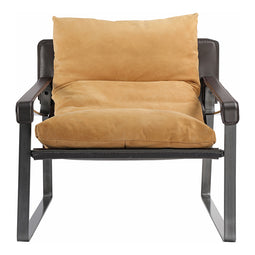 Contemporary Modern Grain Leather Connor Club Chair - Outdoor Lounge Chair