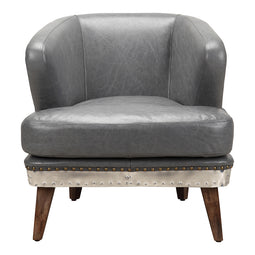 Transitional Cambridge Leather Lounge Club Chair - Modern Slipper Armchair