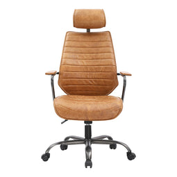 Ergonomic Head Adjustable Executive Swivel Office Computer Chair Cognac