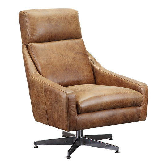 Faris Leather Swivel Chair Light Brown, Cappuccino, Transitional