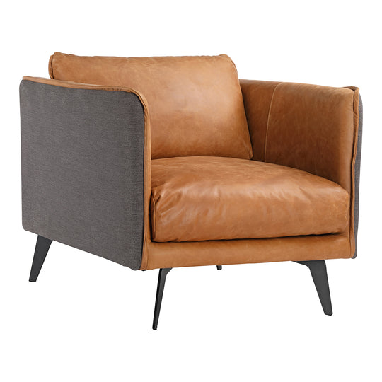 Mid - Century Modern Messina Leather Club Lounge Armchair Cognac - Bedroom Chair