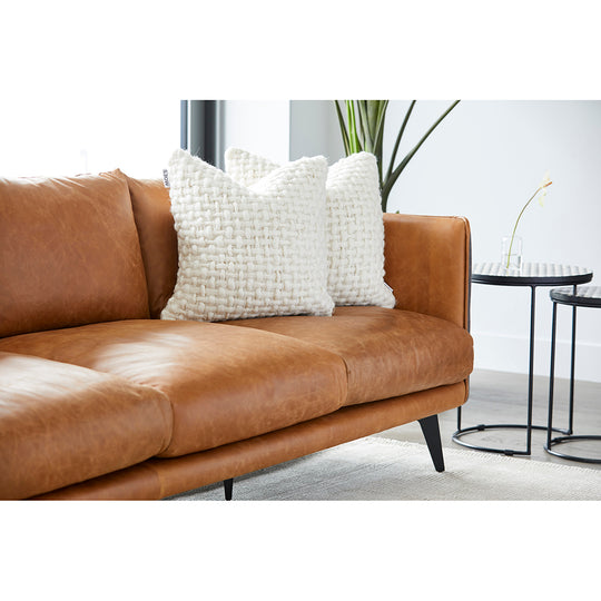 Messina Leather Sofa Cognac, Sierra, Mid-Century Modern