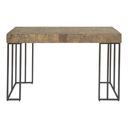 Crosscut Console Table With Iron Base - Antique Natural Console Table, Rustic