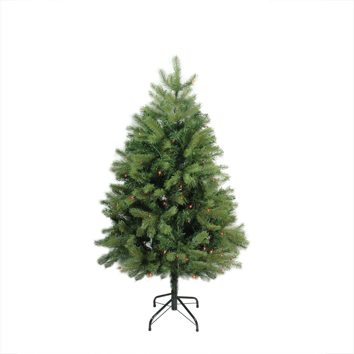 4' Pre-Lit Noble Fir Full Artificial Christmas Tree - Multi-Color Lights