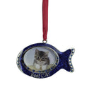 "Load image into Gallery viewer, 3"" Regal Shiny Silver Plated Blue ""Best Cat"" Fish Picture Ornament With European Crystals"