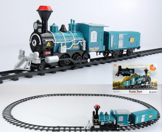 10-Piece Teal Battery Operated Lighted & Animated Classic Train Set with Sound