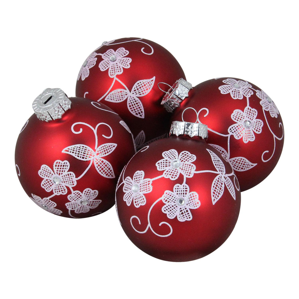 4-Piece White Floral Pattern on a Red Glass Ornament Set 3.25