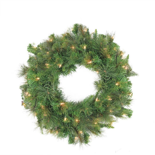 "60"" Pre-Lit LED Canyon Pine Artificial Christmas Wreath - Clear Lights,"
