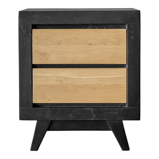 NC Lacquer Finish Dina Side End Table Nightstand With Two Drawer - Solid Oak Panels Bed End Table - Side Table With Stand