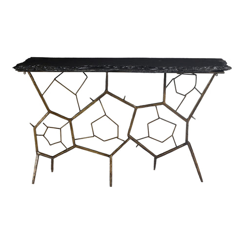 Nate Slate Console Table, Dark Grey, Transitional