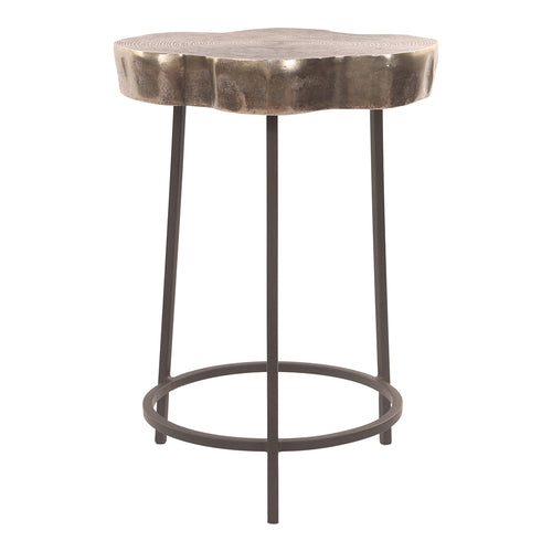 Industrial Sequoia Accent Table In Nickel Finish - Modern End Tables With Aluminium Top - Coffee Table With Iron Base 20.5 Inch Height