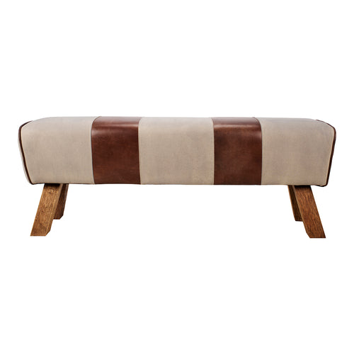 Contemporary Modern Pommel Leather Seat Dining Room Bench - Cafe Bench