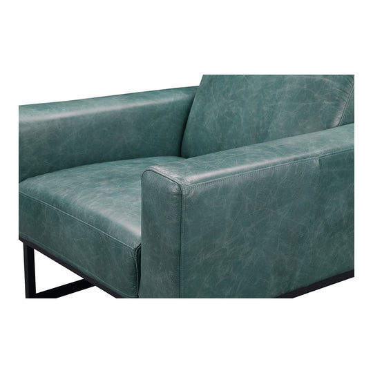 Contemporary Modern Grain Leather Brock Club lounge Arm Chair - Slipper Chair