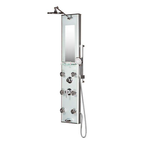 Silver Glass Shower Panel Kihei - Surface Mounted - 6 Dual-function Body Jet - 8mm Tough Glass - 5-Function Hand Shower Spa