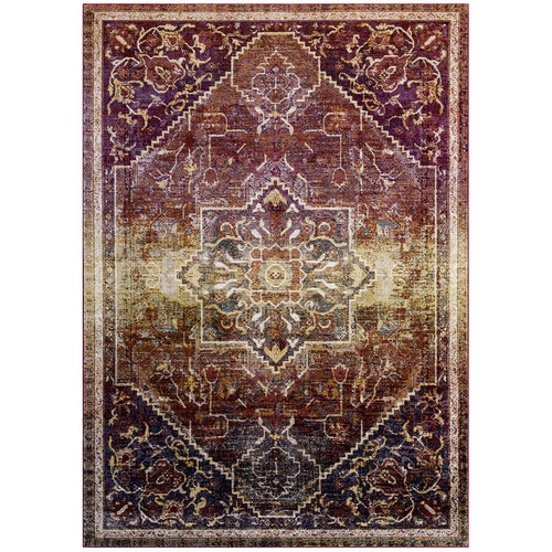 Success Kaede Transitional Distressed Vintage Floral Persian Medallion Area Rug