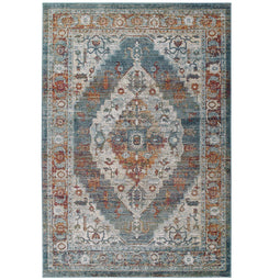 Tribute Camellia Distressed Vintage Floral Persian Medallion Area Rug