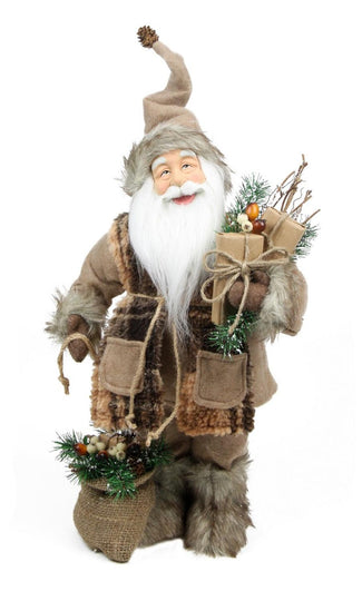 "24"" Rustic Lodge Standing Santa Claus in Camel Brown Checkered Scarf with Gifts Christmas Figure"