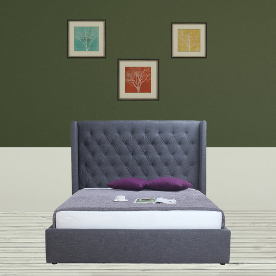 Blair 2-Drawer Bed Queen Grey Fabric, Transitional