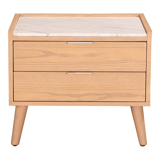 Transitional Munro Nightstand With 2 drawers in Marble top - Bed end Table For Living room With Non Maring foot Caps