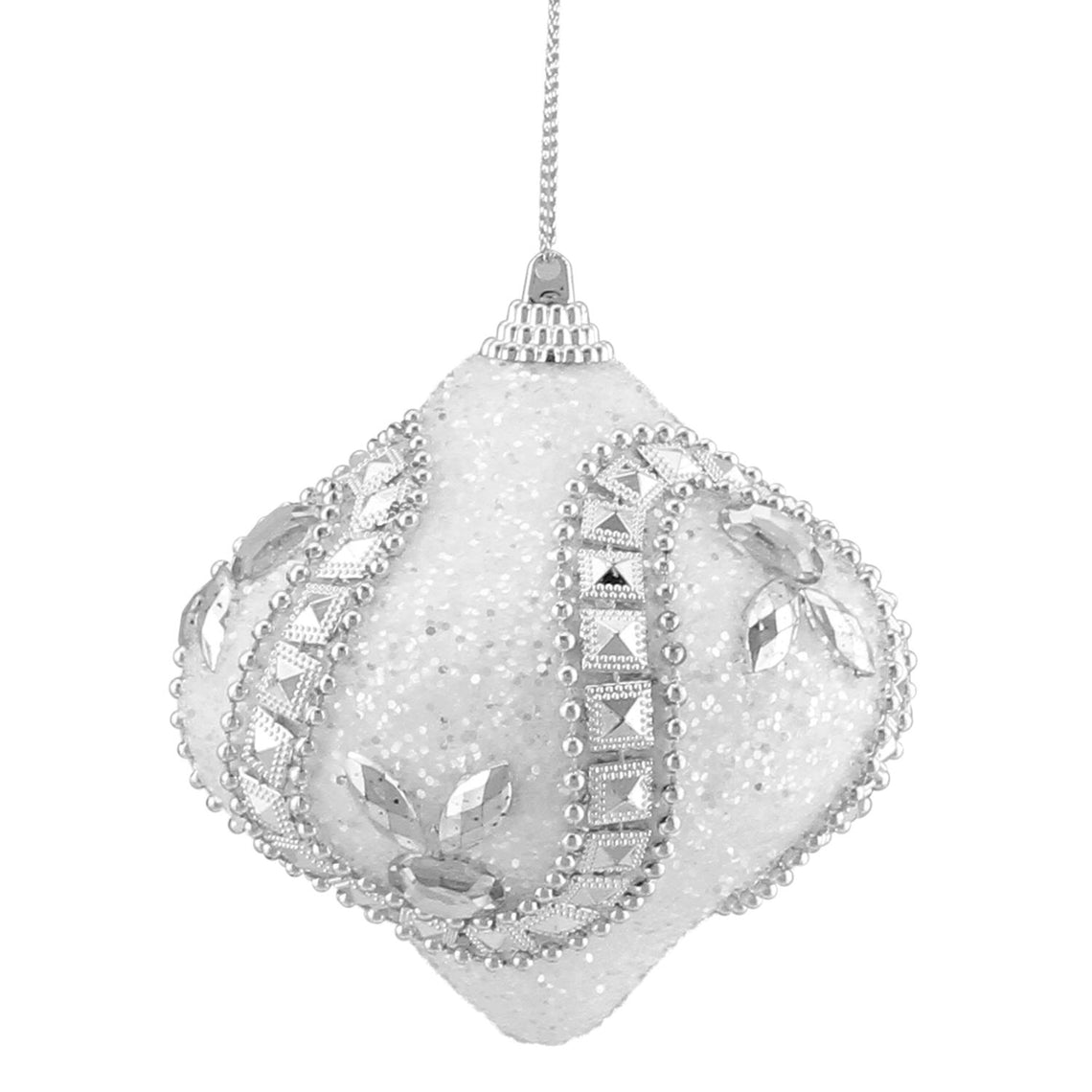 3Ct White And Silver Rhinestone And Glittered Shatterproof Onion Christmas Ornaments 3