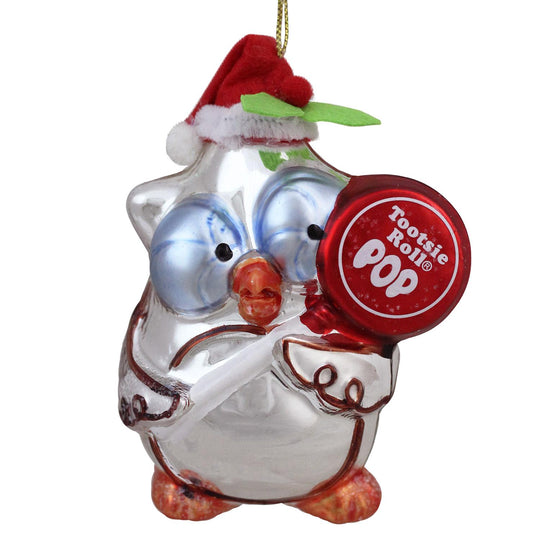 "4"" Candy Lane Tootsie Roll Pop Original Candy Filled Lollipop ""Mr. Owl"" Glass Christmas Ornament"